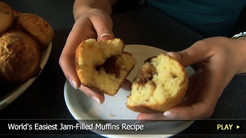 World's Easiest Jam-Filled Muffins Recipe