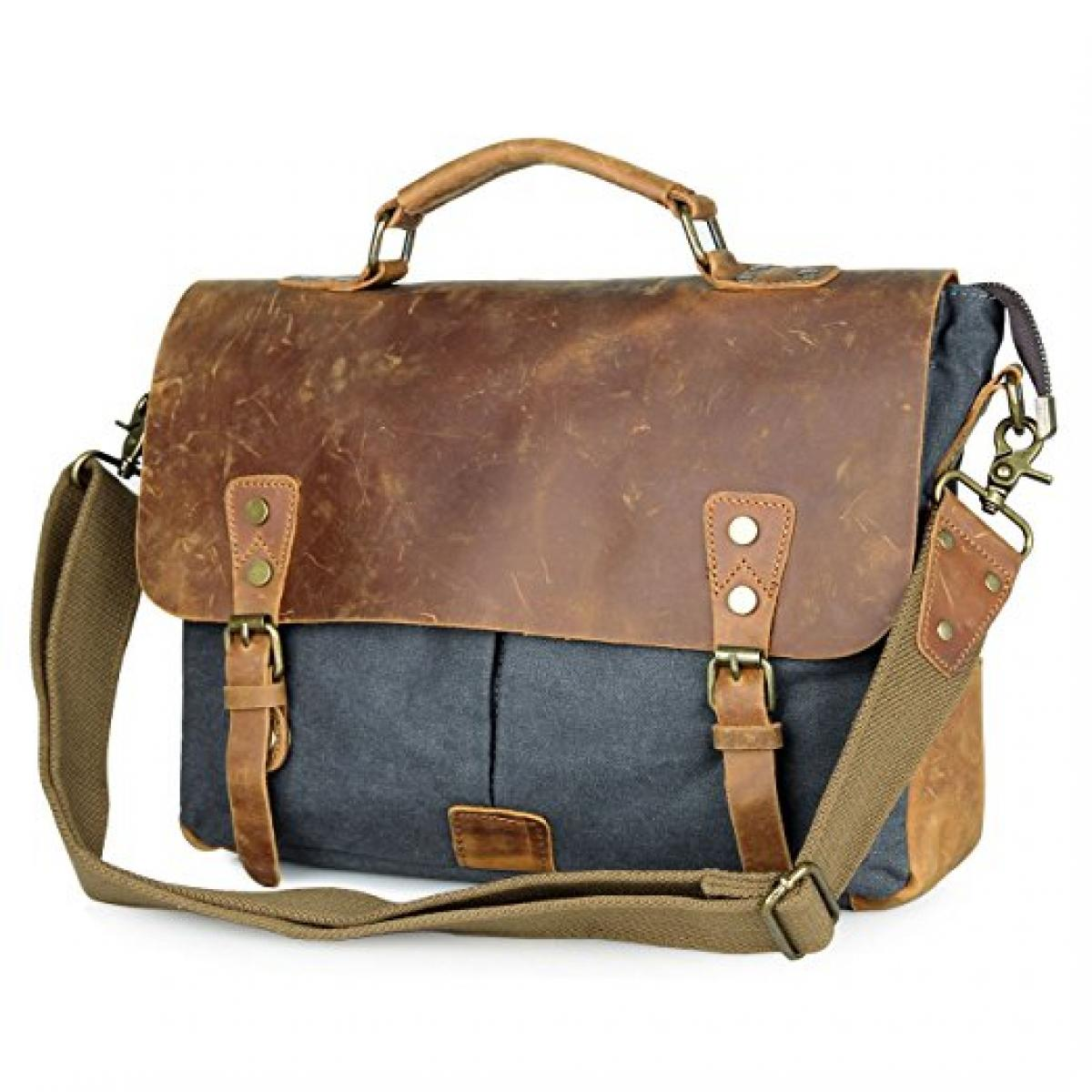 Genuine Leather Vintage Canvas Messenger Bag