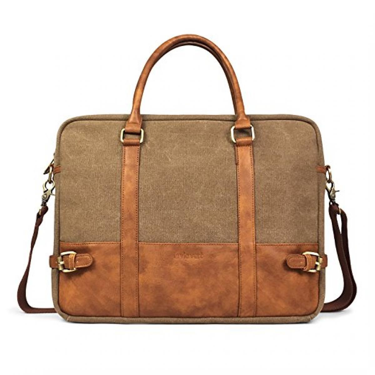Cotton Canvas Leather Laptop Bag